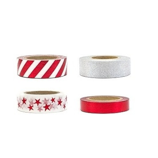 Washi tape sierlinten set zilver/rood 15 mm