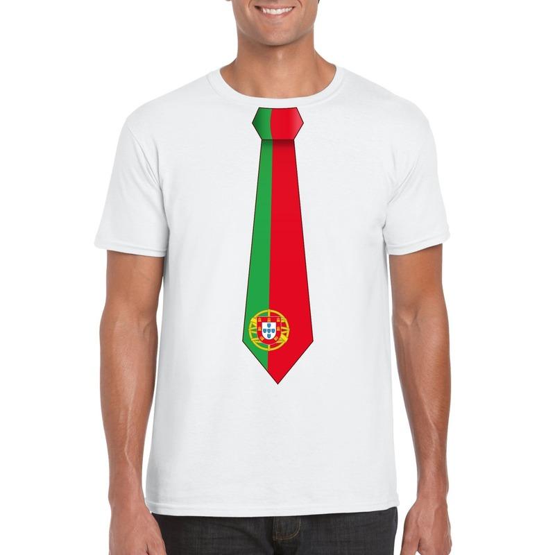 Landen versiering en vlaggen Wit t shirt met Portugal vlag stropdas heren