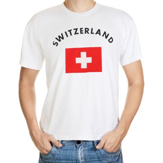 Landen versiering en vlaggen Shoppartners Wit t shirt Zwitserland heren