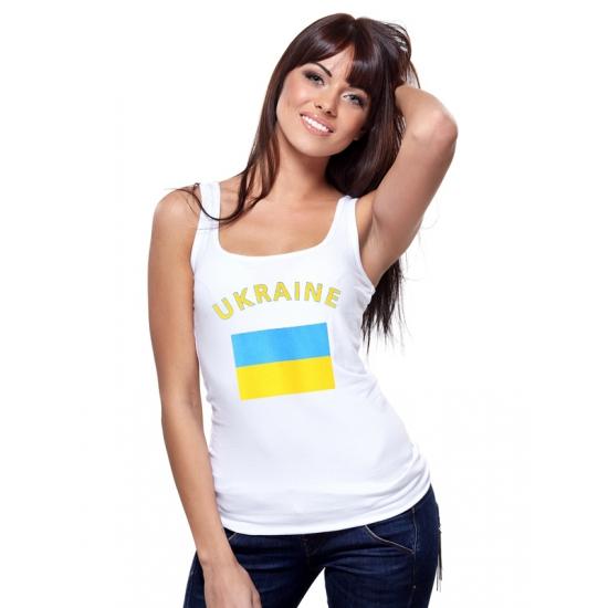 Landen versiering en vlaggen Shoppartners Witte dames tanktop Oekraine