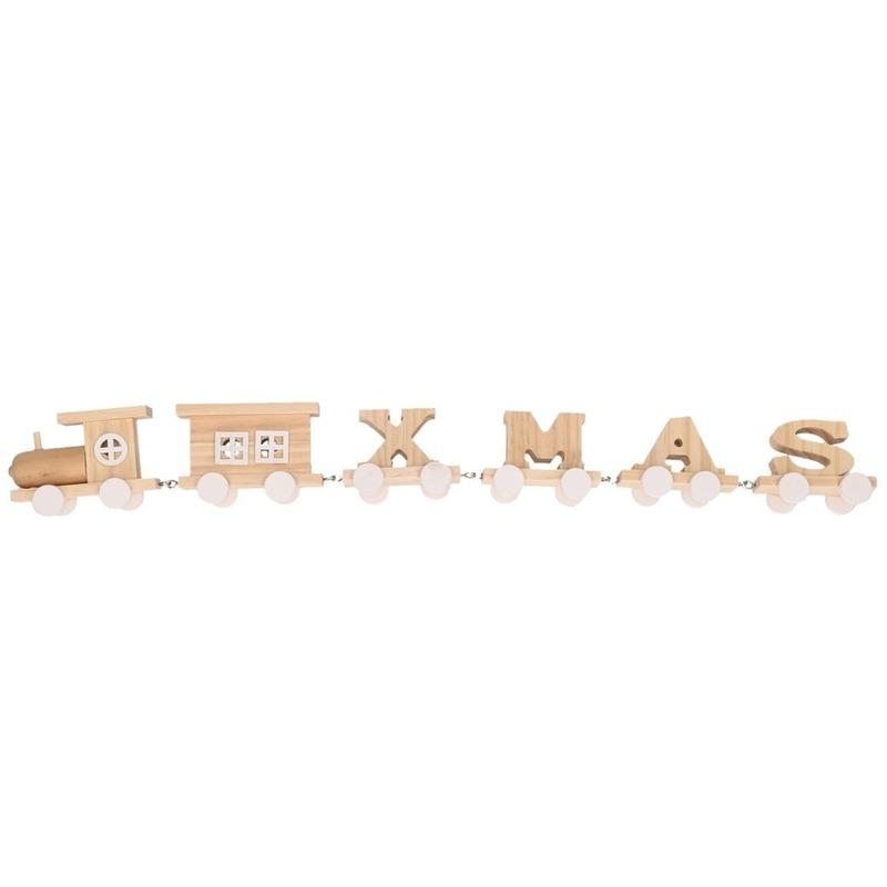 Witte houten kersttrein met tekst XMAS 46 cm