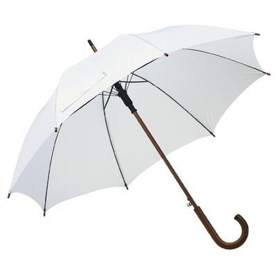 Witte paraplu met houten handvat 103 cm