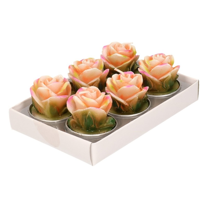Zalm rose theelichtjes 6 stuks