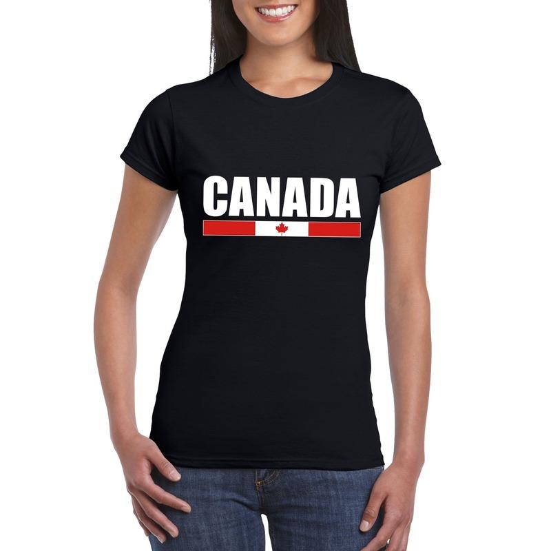 Landen versiering en vlaggen Zwart Canada supporter t shirt voor dames