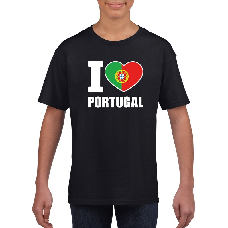 Landen versiering en vlaggen Shoppartners Zwart I love Portugal fan shirt kinderen