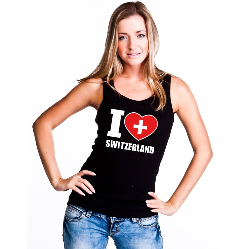 Zwart I love Zwitserland fan singlet shirt tanktop dames Shoppartners Landen versiering en vlaggen