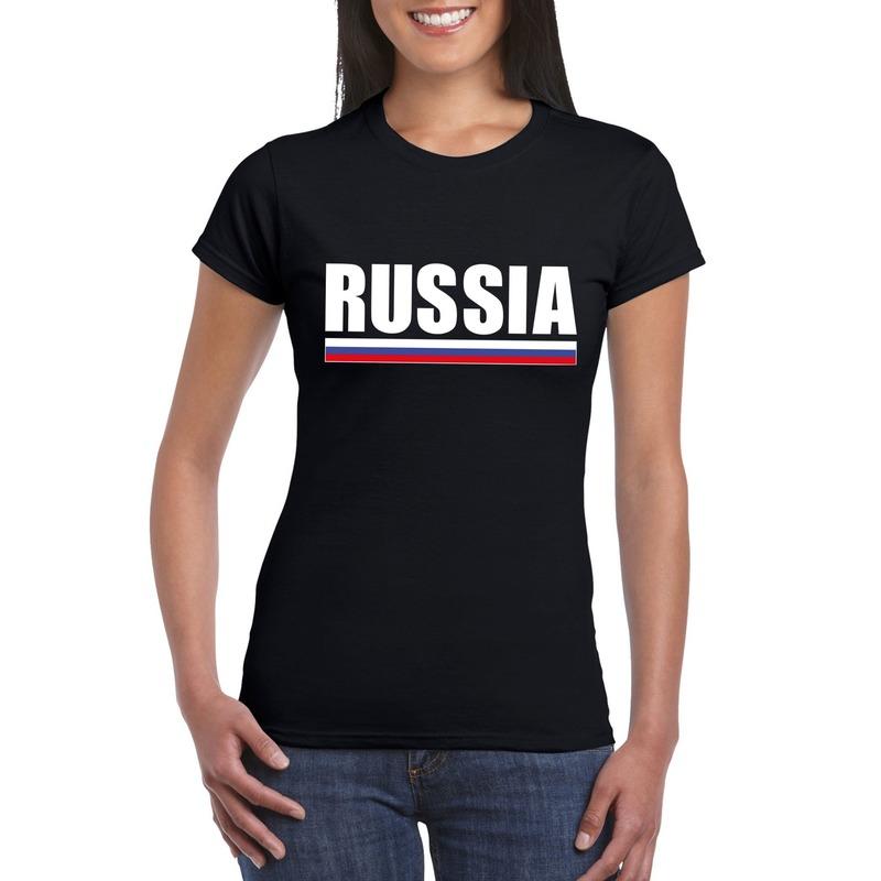 Landen versiering en vlaggen Zwart Rusland supporter t shirt voor dames