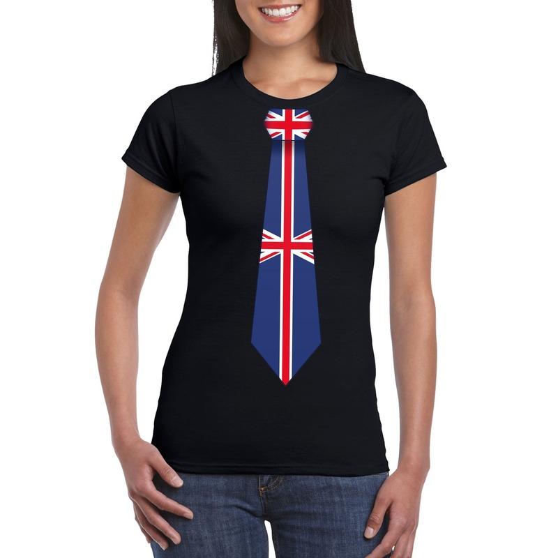 Zwart t shirt met engeland/ great britain vlag stropdas dames. leuk shirt voor een wk/ ek of ander engels ...
