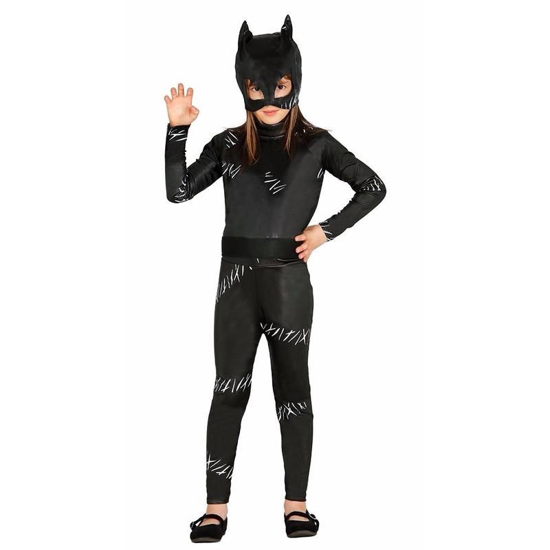 Zwarte kat-poes Halloween catsuit voor meiden